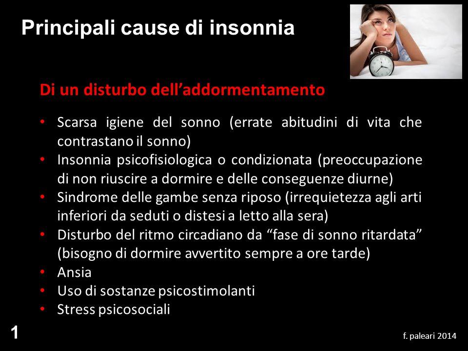 Principali cause di insonnia Di un disturbo dell'addormentamento Scarsa igiene del sonno (errate abitudini di vita che contrastano il sonno) Insonnia