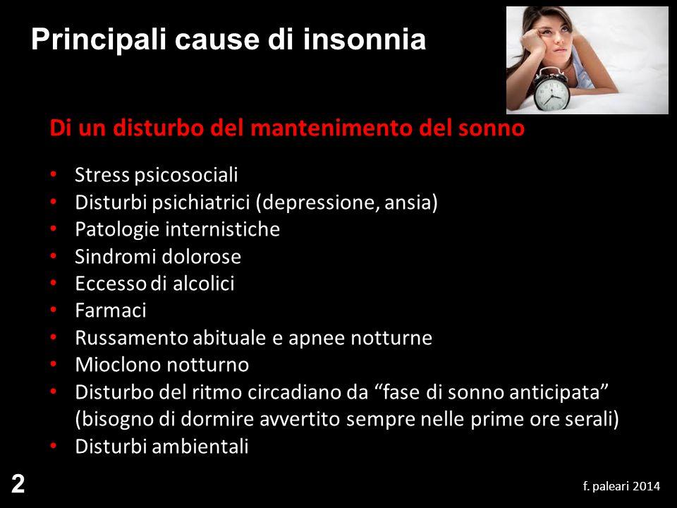 Principali cause di insonnia Di un disturbo del mantenimento del sonno Stress psicosociali Disturbi psichiatrici (depressione, ansia) Patologie intern