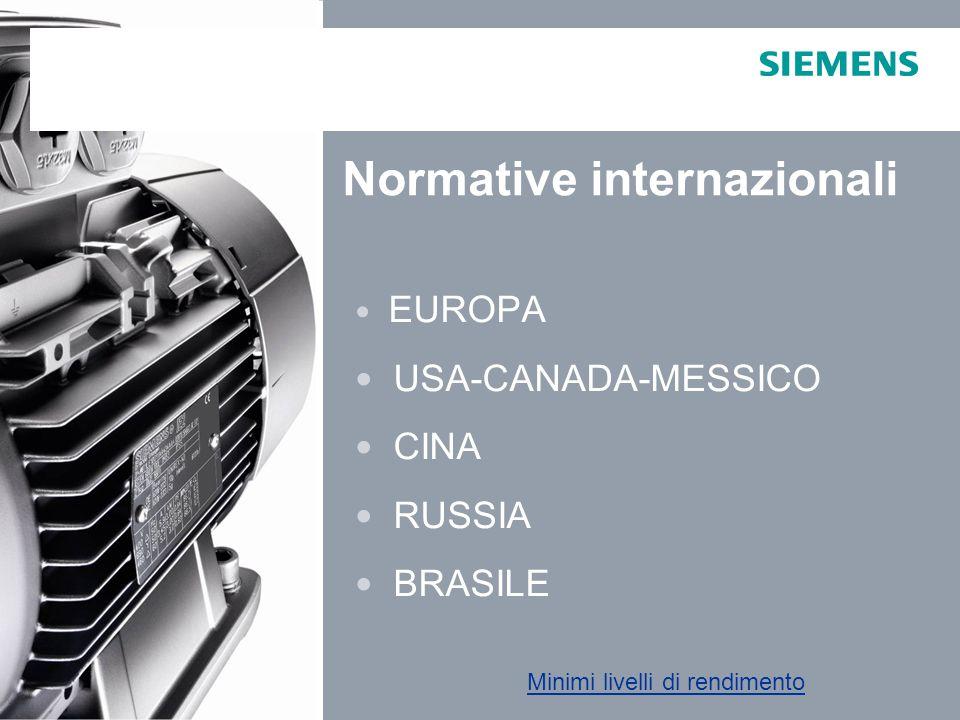 Industry Sector EUROPA  IEC NORMATIVA IEC EN 60034 - 30 E' lo standard che definisce ed armonizza le nuove classi di efficienza IE – International Efficiency : IE1: Standard Efficiency (Paragonabile a EFF2) IE2: High Efficiency (Paragonabile a EFF1) IE3: Premium Efficiency DIRETTIVA EuP 2005/32/EC e ErP 2009/125/CE OBBLIGO di produzione / utilizzo di motori IE2 a partire dal 16 Giugno 2011 ( tranne eccezioni )