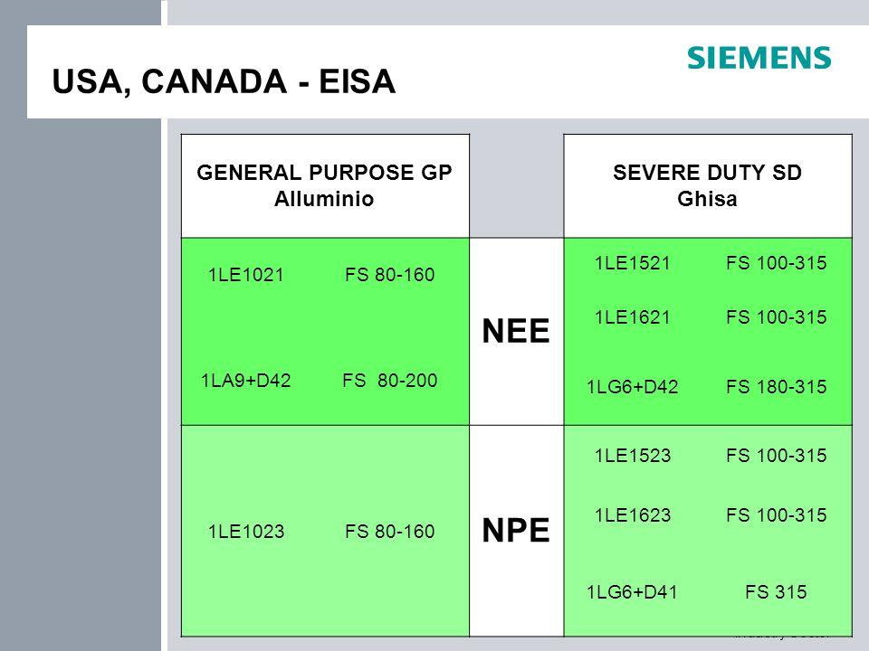 Industry Sector USA, CANADA - EISA GENERAL PURPOSE GP Alluminio SEVERE DUTY SD Ghisa 1LE1021 FS 80-160 NEE 1LE1521FS 100-315 1LE1621FS 100-315 1LA9+D4