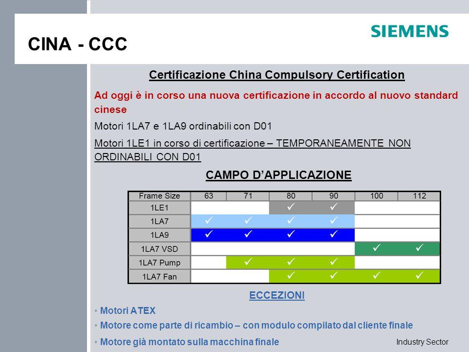Industry Sector CINA - CCC Certificazione China Compulsory Certification Ad oggi è in corso una nuova certificazione in accordo al nuovo standard cine