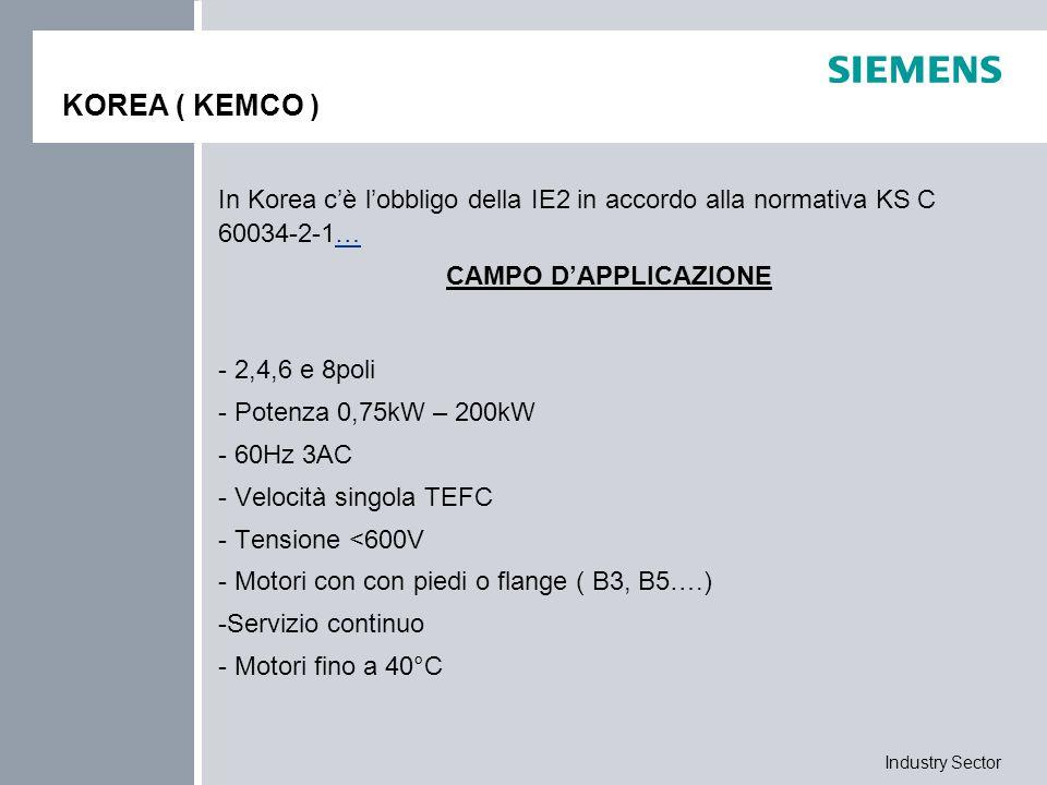 Industry Sector KOREA ( KEMCO ) In Korea c'è l'obbligo della IE2 in accordo alla normativa KS C 60034-2-1…… CAMPO D'APPLICAZIONE - 2,4,6 e 8poli - Pot