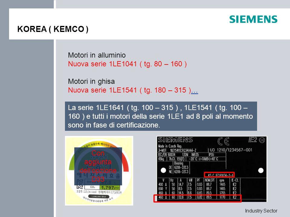 Industry Sector KOREA ( KEMCO ) Motori in alluminio Nuova serie 1LE1041 ( tg. 80 – 160 ) Motori in ghisa Nuova serie 1LE1541 ( tg. 180 – 315 )…… La se