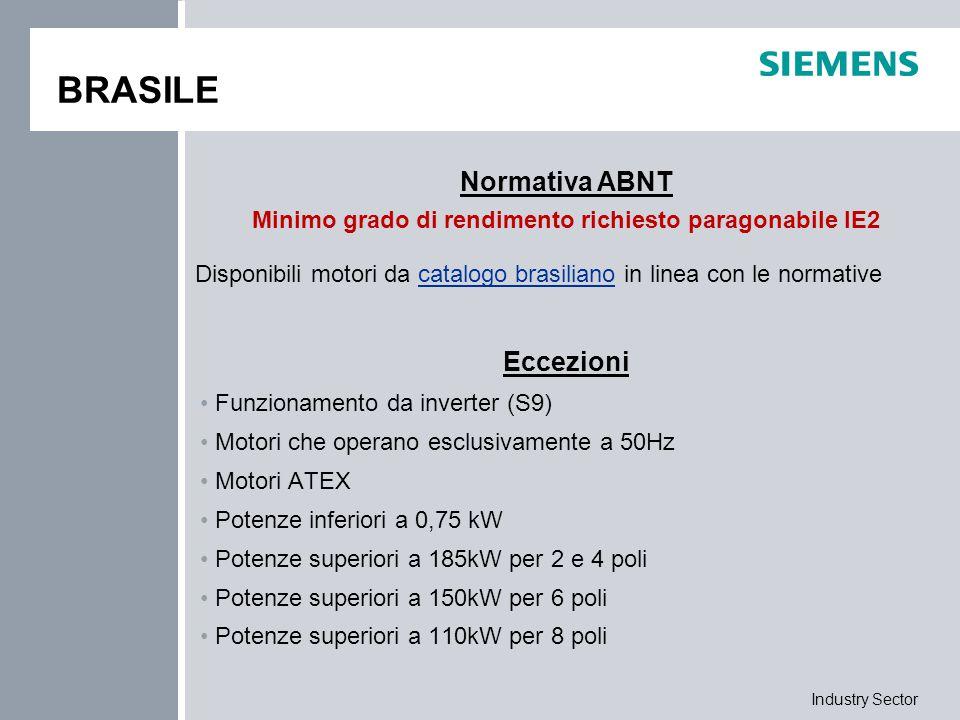 Industry Sector BRASILE Eccezioni Funzionamento da inverter (S9) Motori che operano esclusivamente a 50Hz Motori ATEX Potenze inferiori a 0,75 kW Pote