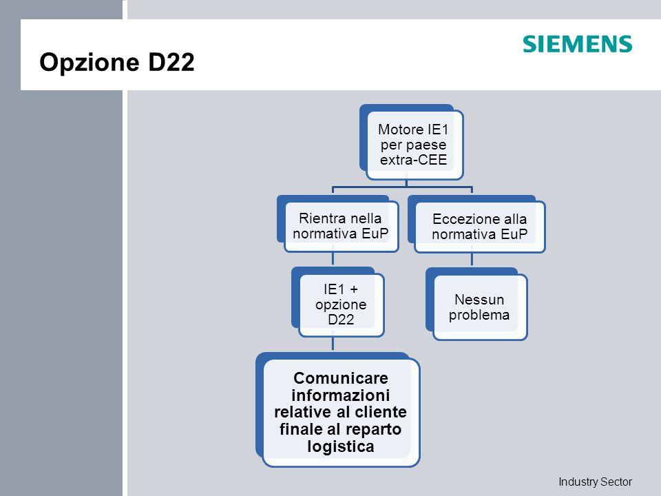 Industry Sector Opzione D22 Motore IE1 per paese extra-CEE Rientra nella normativa EuP IE1 + opzione D22 Comunicare informazioni relative al cliente f