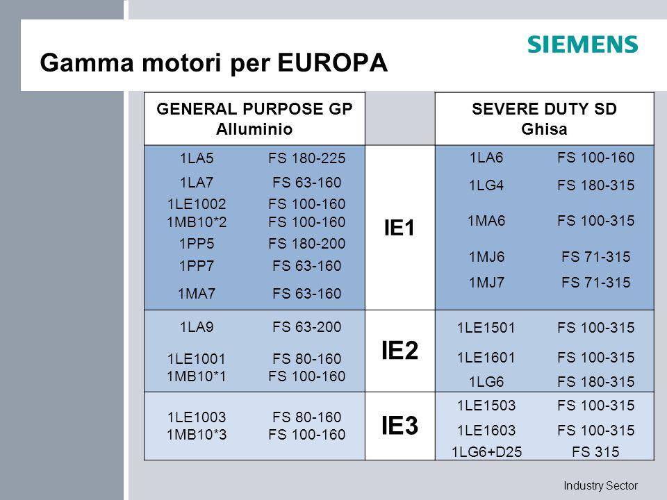 Industry Sector Gamma motori per EUROPA GENERAL PURPOSE GP Alluminio SEVERE DUTY SD Ghisa 1LA5FS 180-225 IE1 1LA6FS 100-160 1LA7FS 63-160 1LG4FS 180-3
