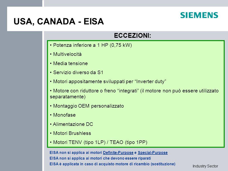Industry Sector Efficienza minima richiesta USA, CANADA Motore per USA o CANADA Rientra nelle normative EISA NEMA ENERGY EFFICIENT NEMA PREMIUM Eccezione alle EISA Qualunque motore UL (D31) o NEMA (D30); CSA (D40, necessario per Canada) Attenzione: motori ATEX in USA e CANADA contattare il reparto