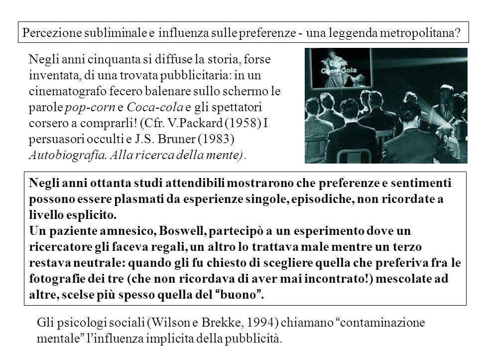 Percezione subliminale e influenza sulle preferenze - una leggenda metropolitana? Negli anni cinquanta si diffuse la storia, forse inventata, di una t