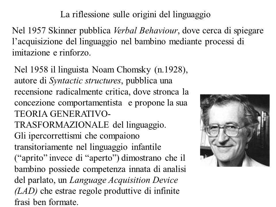 Nel 1957 Skinner pubblica Verbal Behaviour, dove cerca di spiegare l'acquisizione del linguaggio nel bambino mediante processi di imitazione e rinforz