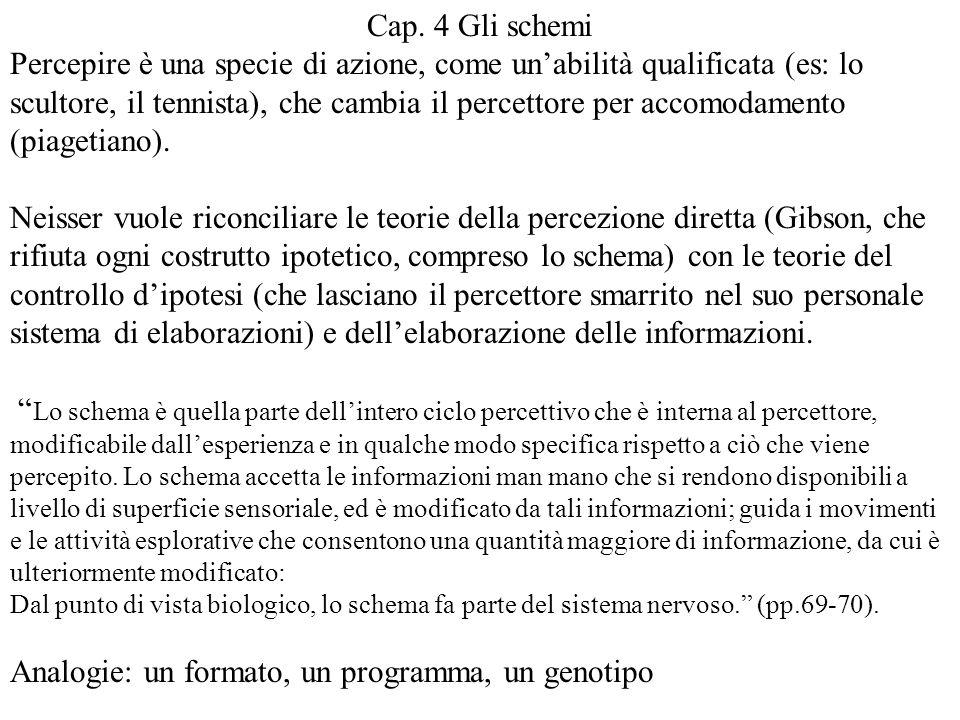 Cap. 4 Gli schemi Percepire è una specie di azione, come un'abilità qualificata (es: lo scultore, il tennista), che cambia il percettore per accomodam