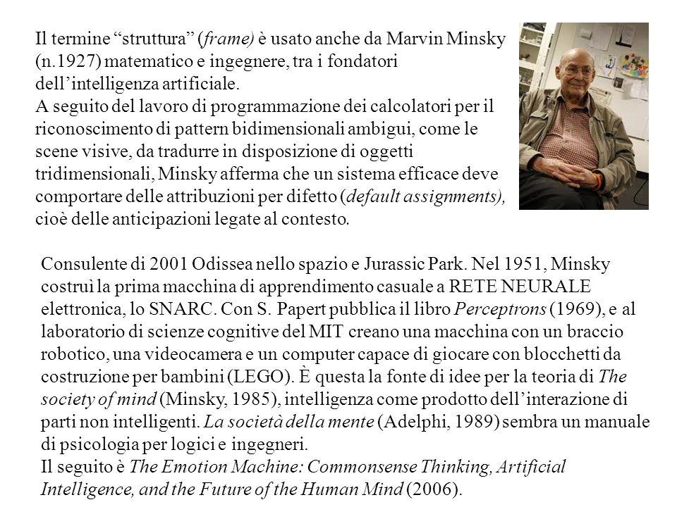 """Il termine """"struttura"""" (frame) è usato anche da Marvin Minsky (n.1927) matematico e ingegnere, tra i fondatori dell'intelligenza artificiale. A seguit"""