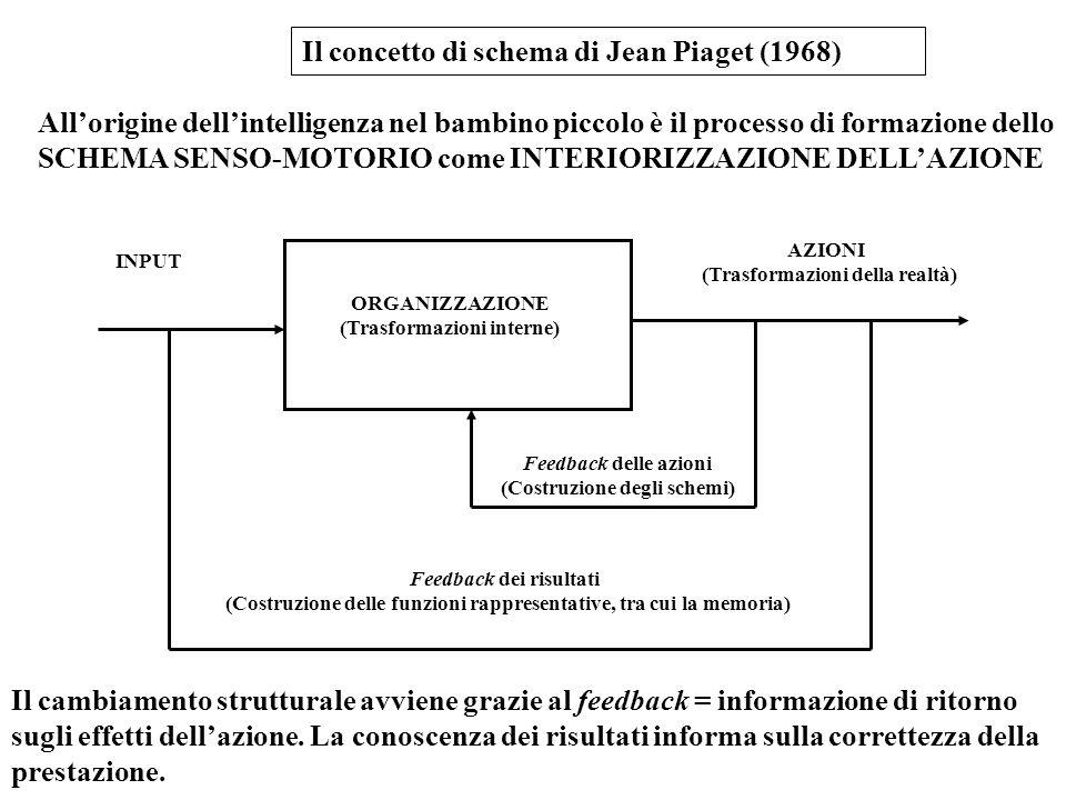 Il concetto di schema di Jean Piaget (1968) All'origine dell'intelligenza nel bambino piccolo è il processo di formazione dello SCHEMA SENSO-MOTORIO c