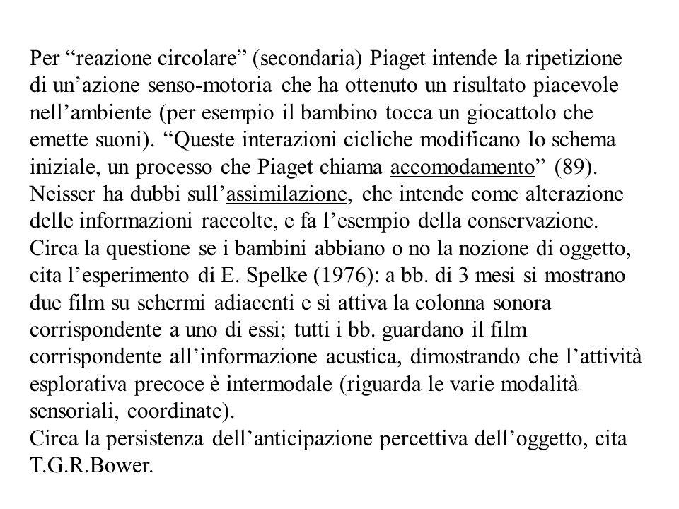 Per reazione circolare (secondaria) Piaget intende la ripetizione di un'azione senso-motoria che ha ottenuto un risultato piacevole nell'ambiente (per esempio il bambino tocca un giocattolo che emette suoni).