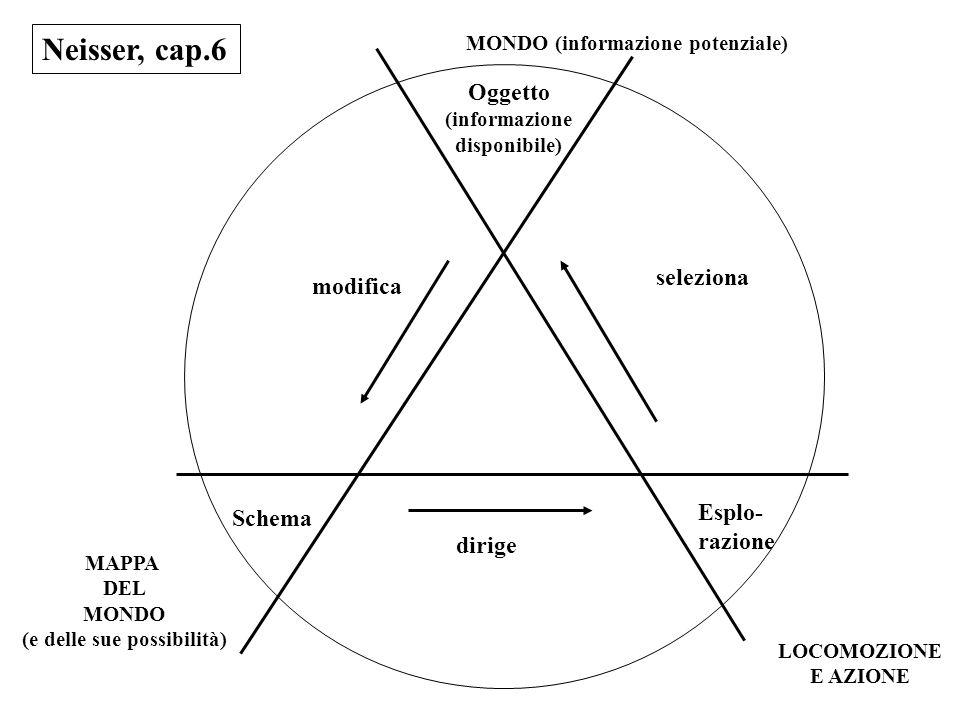 Neisser, cap.6 Oggetto (informazione disponibile) Esplo- razione modifica dirige seleziona Schema MONDO (informazione potenziale) LOCOMOZIONE E AZIONE MAPPA DEL MONDO (e delle sue possibilità)