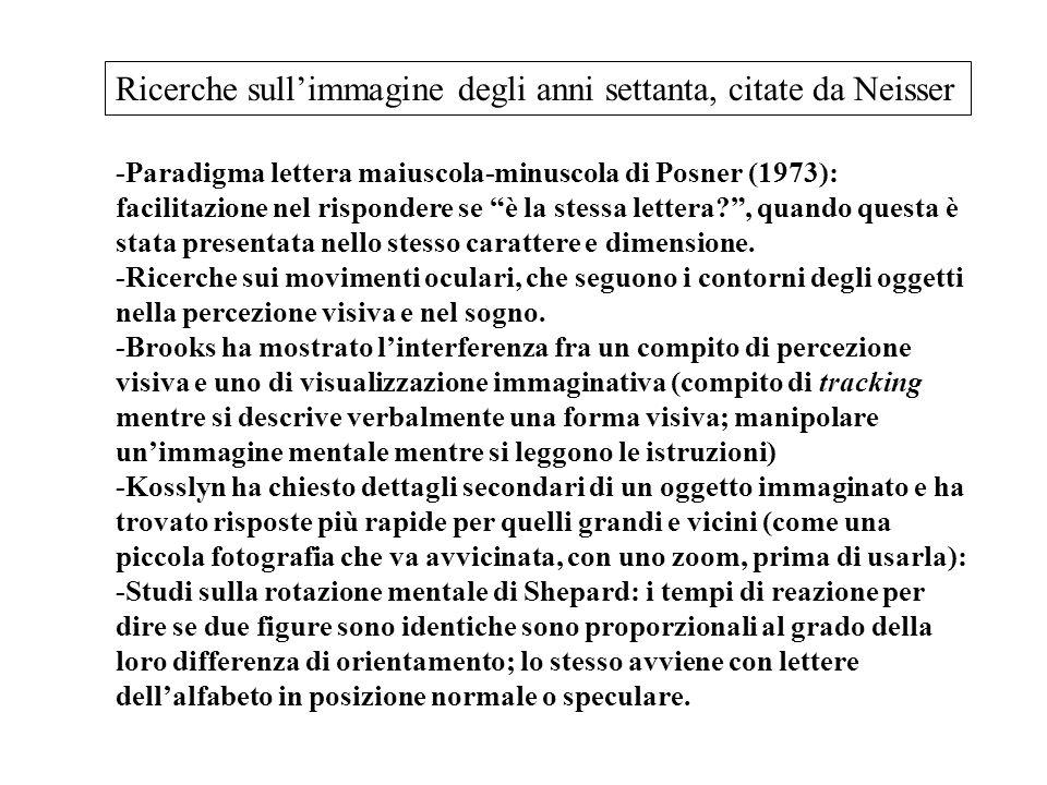 -Paradigma lettera maiuscola-minuscola di Posner (1973): facilitazione nel rispondere se è la stessa lettera? , quando questa è stata presentata nello stesso carattere e dimensione.