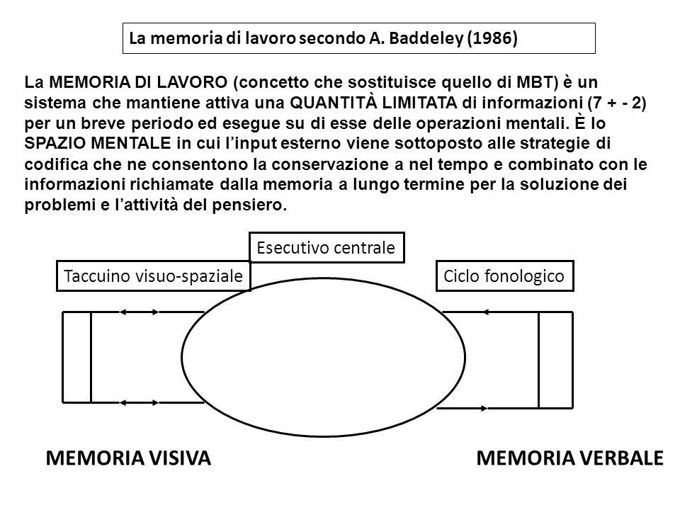 La memoria di lavoro secondo A. Baddeley (1986) La MEMORIA DI LAVORO (concetto che sostituisce quello di MBT) è un sistema che mantiene attiva una QUA