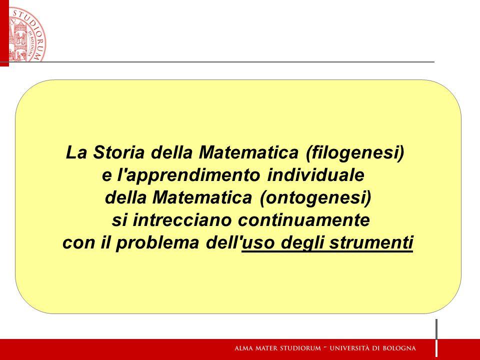 La Storia della Matematica (filogenesi) e l'apprendimento individuale della Matematica (ontogenesi) si intrecciano continuamente con il problema dell'
