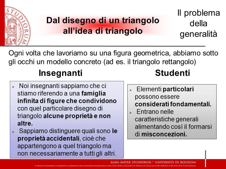 Dal disegno di un triangolo all'idea di triangolo Il problema della generalità Ogni volta che lavoriamo su una figura geometrica, abbiamo sotto gli oc