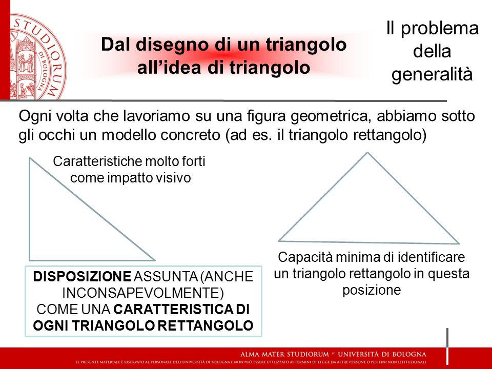 Ogni volta che lavoriamo su una figura geometrica, abbiamo sotto gli occhi un modello concreto (ad es. il triangolo rettangolo) Caratteristiche molto