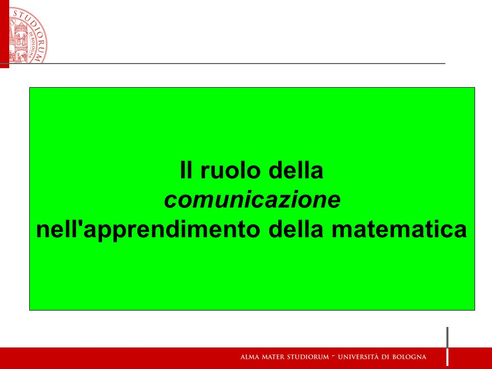 Il ruolo della comunicazione nell'apprendimento della matematica