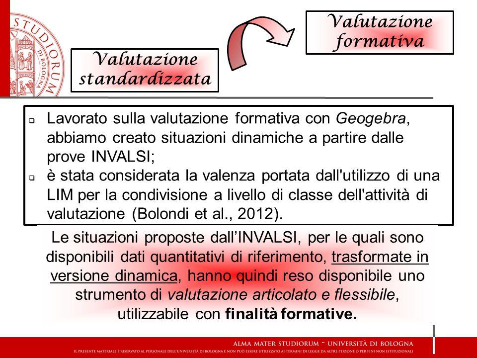 Valutazione standardizzata Valutazione formativa  Lavorato sulla valutazione formativa con Geogebra, abbiamo creato situazioni dinamiche a partire da