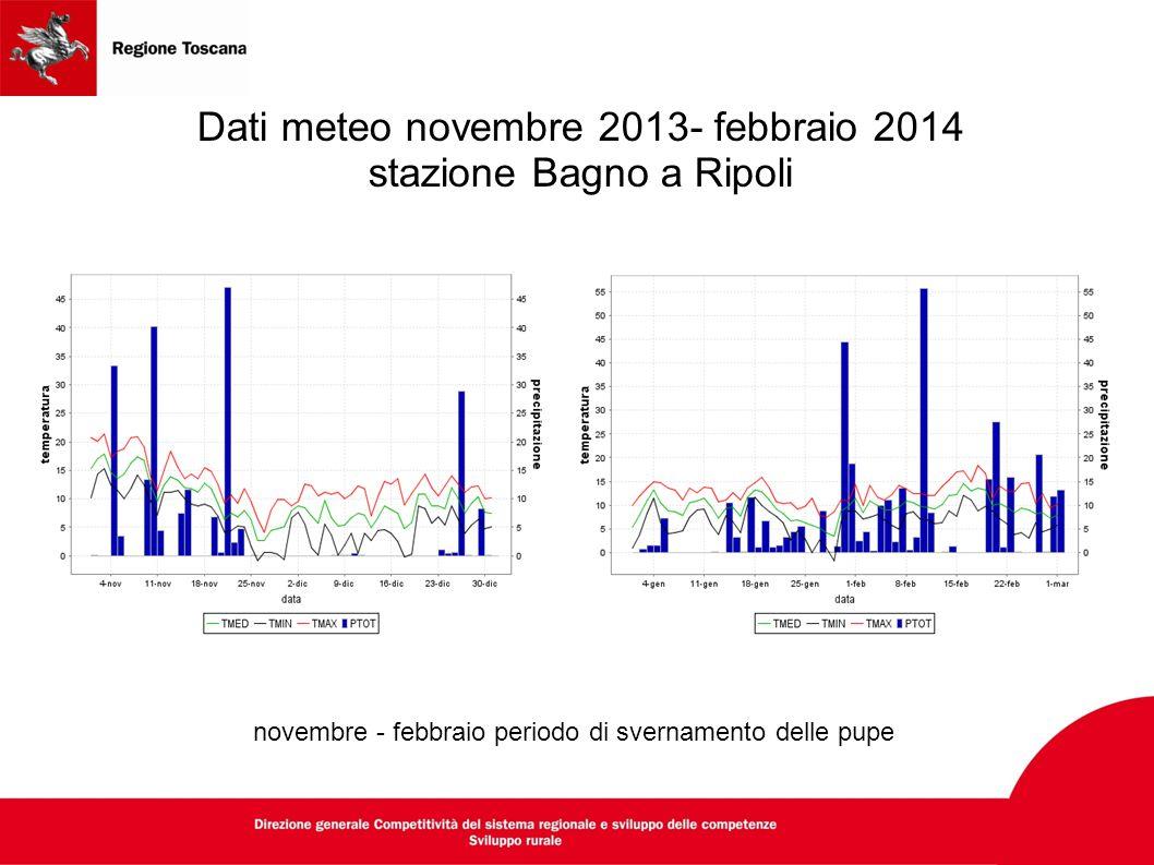 Dati meteo novembre 2013- febbraio 2014 stazione Bagno a Ripoli novembre - febbraio periodo di svernamento delle pupe