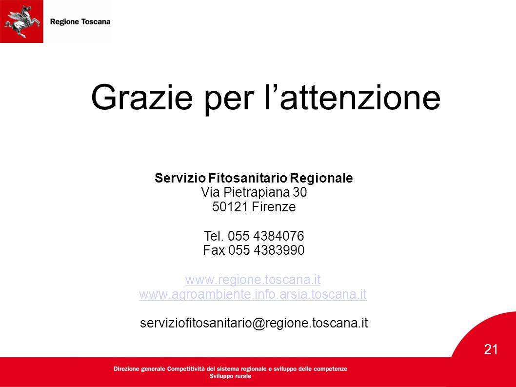 21 Grazie per l'attenzione Servizio Fitosanitario Regionale Via Pietrapiana 30 50121 Firenze Tel. 055 4384076 Fax 055 4383990 www.regione.toscana.it w