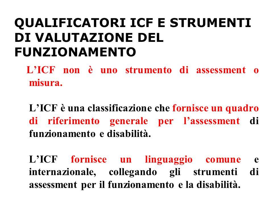 QUALIFICATORI ICF E STRUMENTI DI VALUTAZIONE DEL FUNZIONAMENTO L'ICF non è uno strumento di assessment o misura.