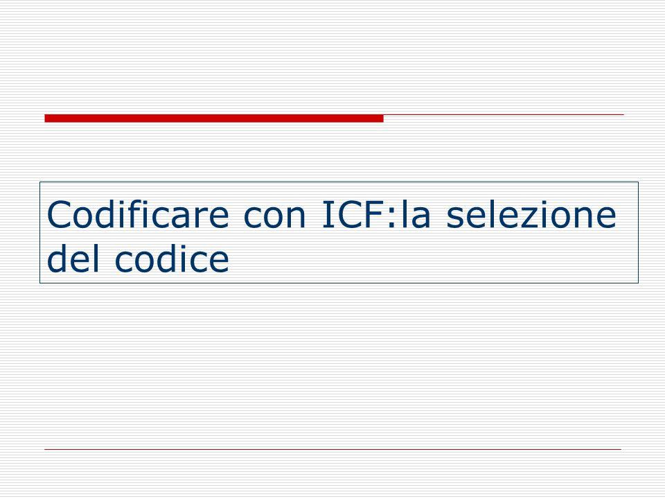 Tenere conto di tutte le componenti dell'ICF (modello biopsicosociale) : Funzioni Corporee Strutture Corporee Attività e Partecipazione Fattori Ambientali REGOLE GENERALI DI CODIFICA