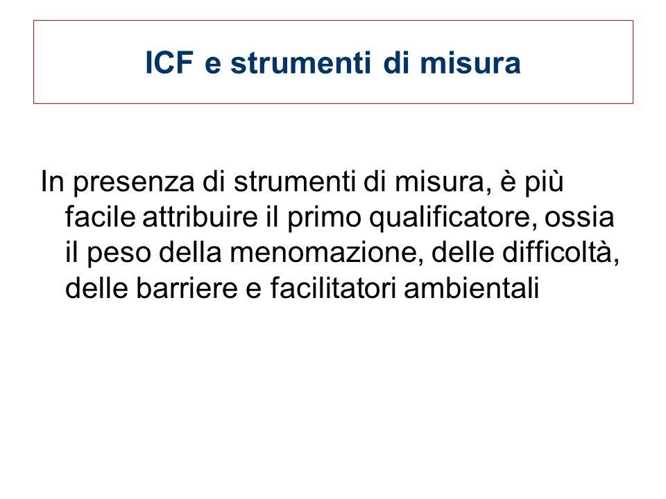 ICF e strumenti di misura In presenza di strumenti di misura, è più facile attribuire il primo qualificatore, ossia il peso della menomazione, delle difficoltà, delle barriere e facilitatori ambientali