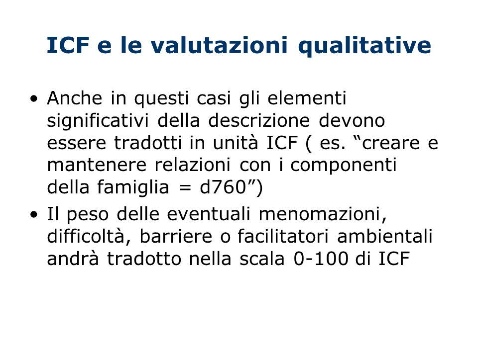 ICF e le valutazioni qualitative Anche in questi casi gli elementi significativi della descrizione devono essere tradotti in unità ICF ( es.