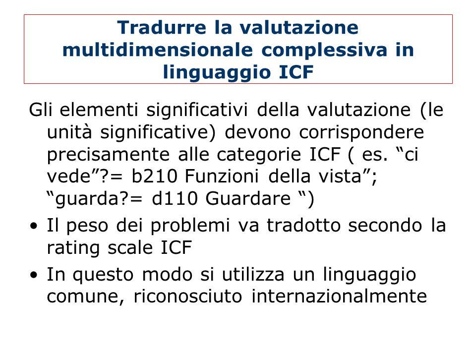 Tradurre la valutazione multidimensionale complessiva in linguaggio ICF Gli elementi significativi della valutazione (le unità significative) devono corrispondere precisamente alle categorie ICF ( es.