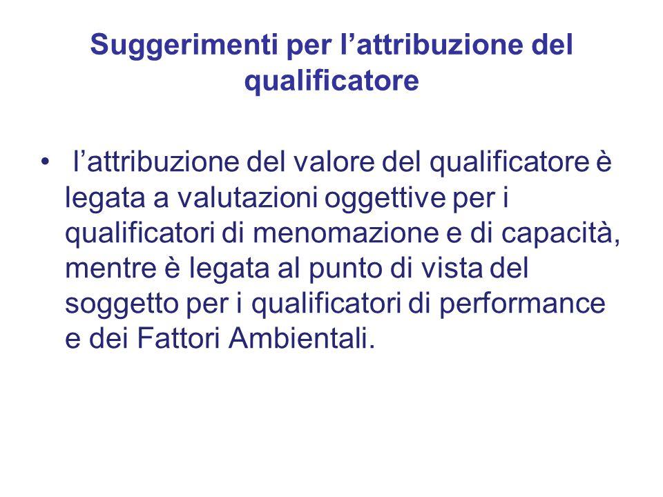 l'attribuzione del valore del qualificatore è legata a valutazioni oggettive per i qualificatori di menomazione e di capacità, mentre è legata al punto di vista del soggetto per i qualificatori di performance e dei Fattori Ambientali.