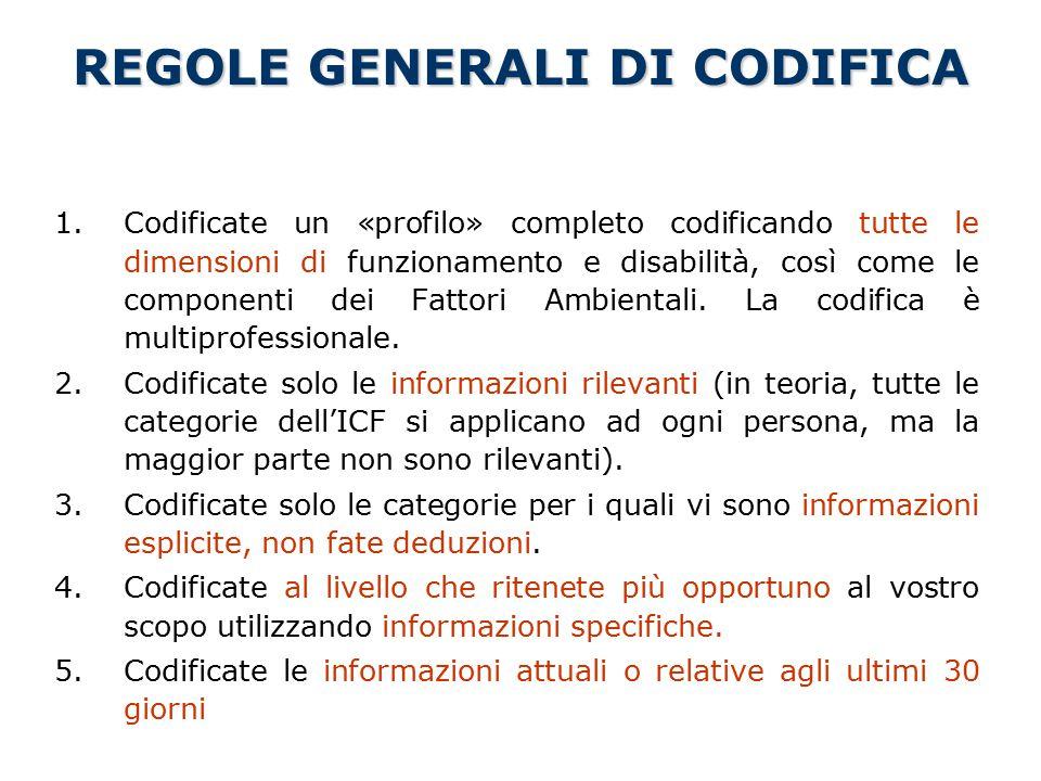 REGOLE GENERALI DI CODIFICA 1.Codificate un «profilo» completo codificando tutte le dimensioni di funzionamento e disabilità, così come le componenti dei Fattori Ambientali.