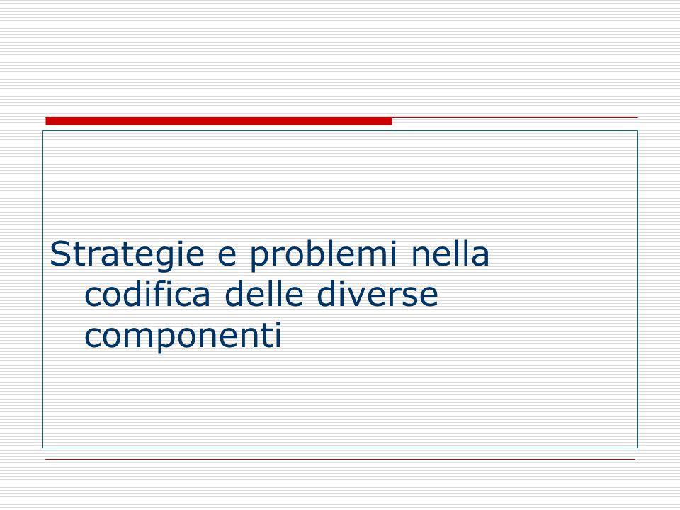 Strategie e problemi nella codifica delle diverse componenti