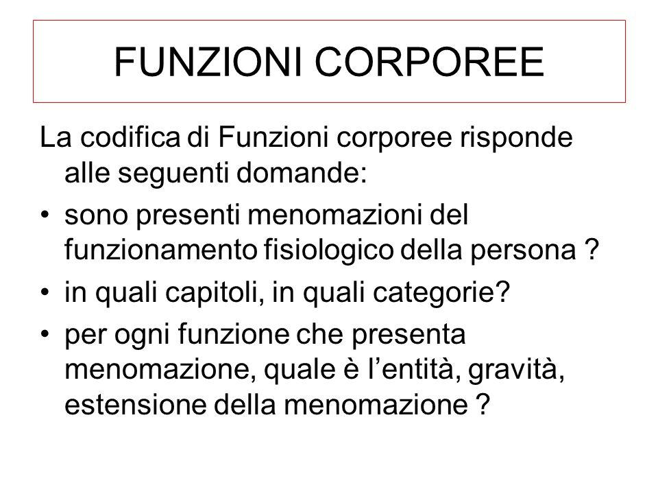 FUNZIONI CORPOREE La codifica di Funzioni corporee risponde alle seguenti domande: sono presenti menomazioni del funzionamento fisiologico della persona .