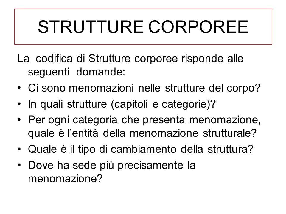 STRUTTURE CORPOREE La codifica di Strutture corporee risponde alle seguenti domande: Ci sono menomazioni nelle strutture del corpo.