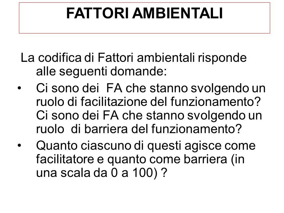 La codifica di Fattori ambientali risponde alle seguenti domande: Ci sono dei FA che stanno svolgendo un ruolo di facilitazione del funzionamento.