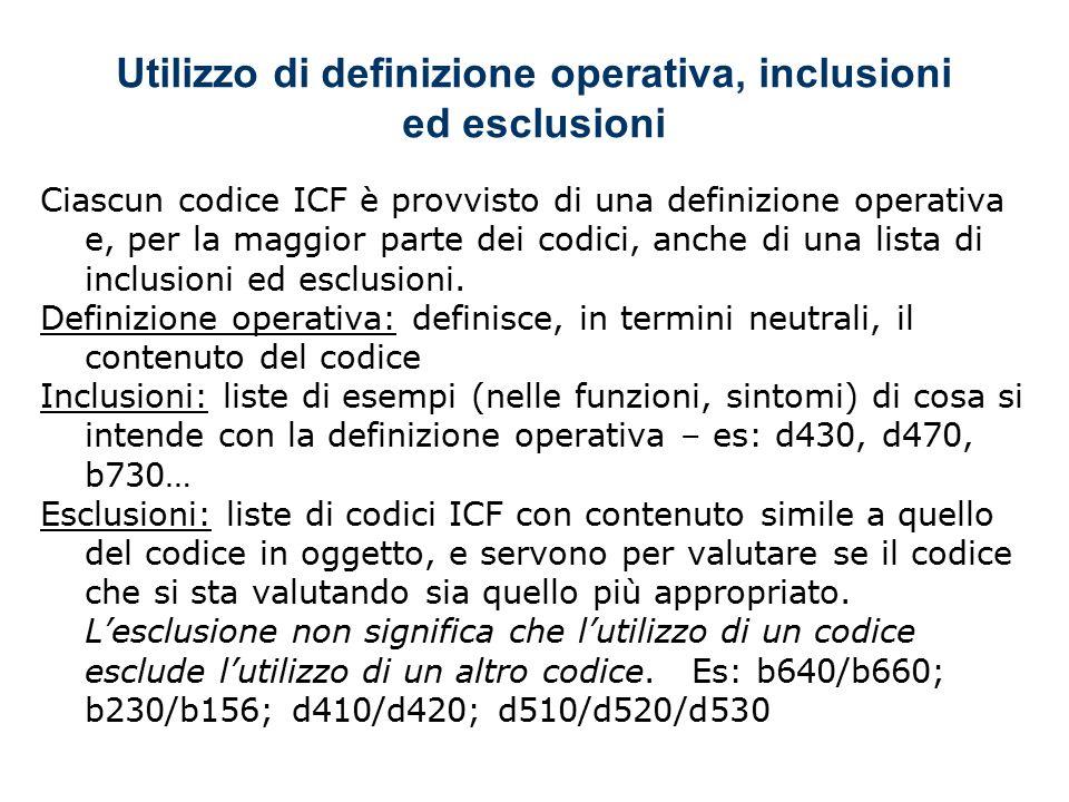 Utilizzo di definizione operativa, inclusioni ed esclusioni Ciascun codice ICF è provvisto di una definizione operativa e, per la maggior parte dei codici, anche di una lista di inclusioni ed esclusioni.
