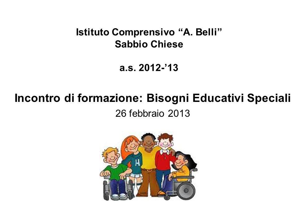"""Istituto Comprensivo """"A. Belli"""" Sabbio Chiese a.s. 2012-'13 Incontro di formazione: Bisogni Educativi Speciali 26 febbraio 2013"""
