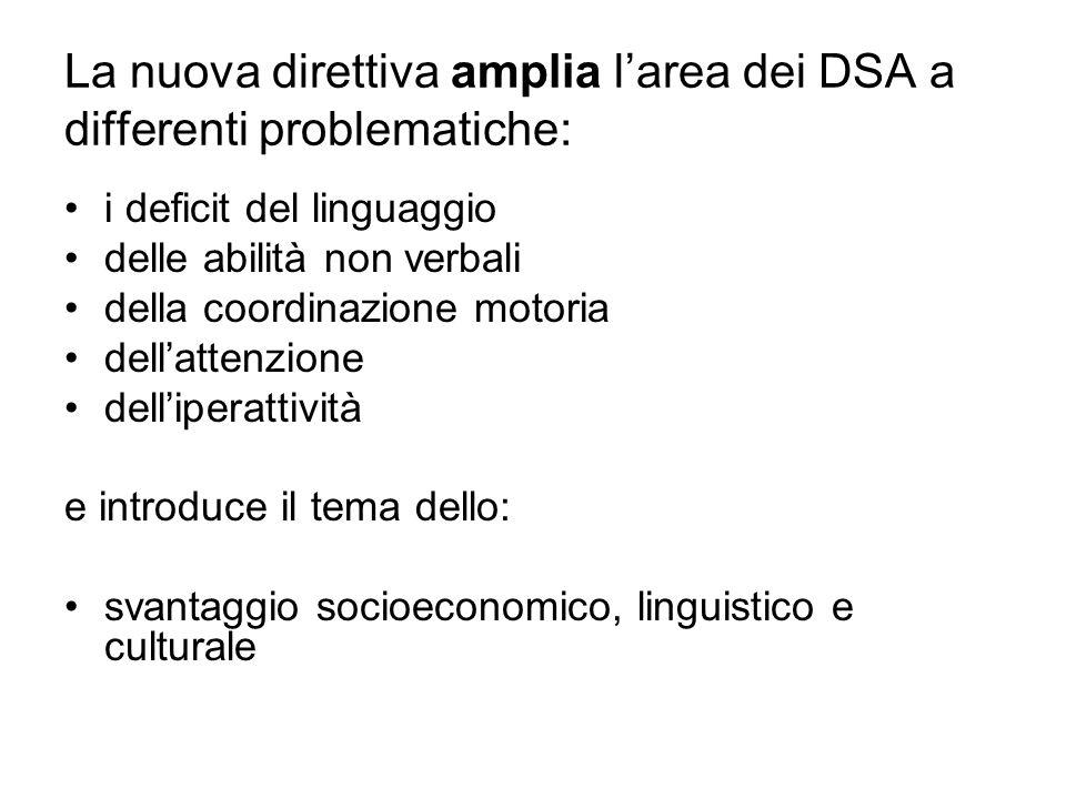 La nuova direttiva amplia l'area dei DSA a differenti problematiche: i deficit del linguaggio delle abilità non verbali della coordinazione motoria de