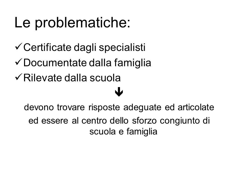 Le problematiche: Certificate dagli specialisti Documentate dalla famiglia Rilevate dalla scuola  devono trovare risposte adeguate ed articolate ed e