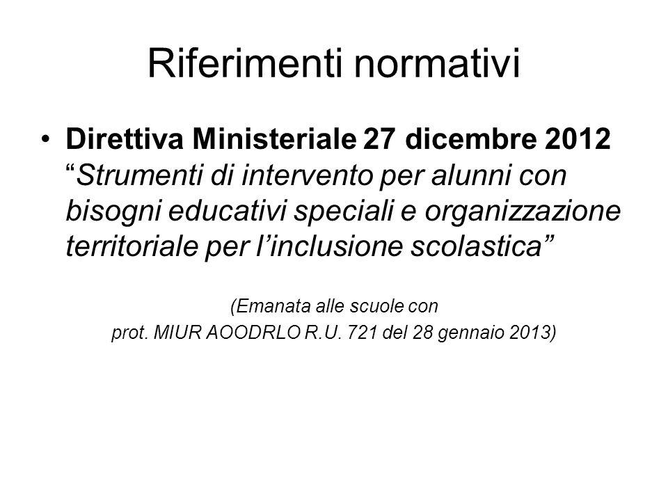 """Riferimenti normativi Direttiva Ministeriale 27 dicembre 2012 """"Strumenti di intervento per alunni con bisogni educativi speciali e organizzazione terr"""