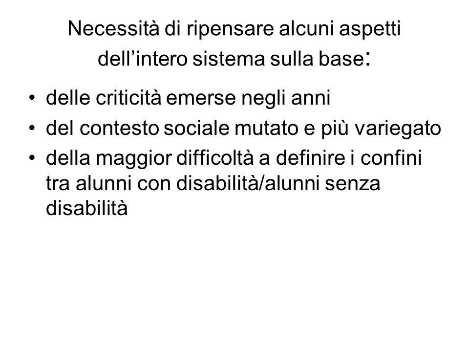 Necessità di ripensare alcuni aspetti dell'intero sistema sulla base : delle criticità emerse negli anni del contesto sociale mutato e più variegato d