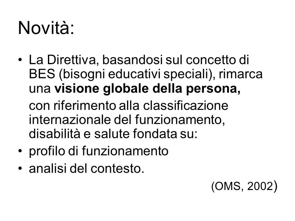 Novità: La Direttiva, basandosi sul concetto di BES (bisogni educativi speciali), rimarca una visione globale della persona, con riferimento alla clas