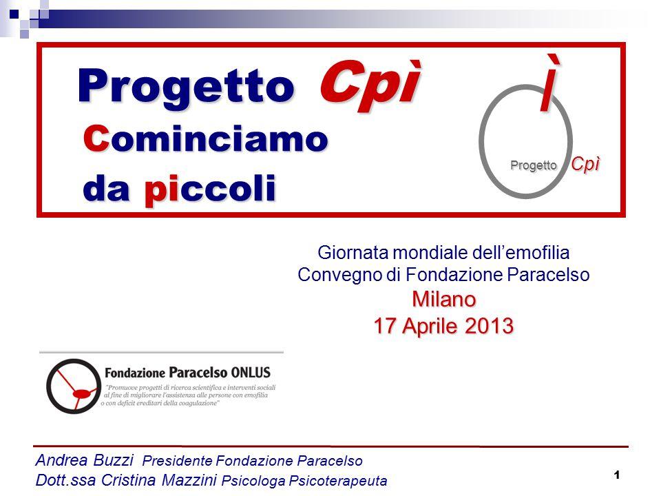 1 Andrea Buzzi Presidente Fondazione Paracelso Dott.ssa Cristina Mazzini Psicologa Psicoterapeuta Giornata mondiale dell'emofilia Convegno di Fondazio