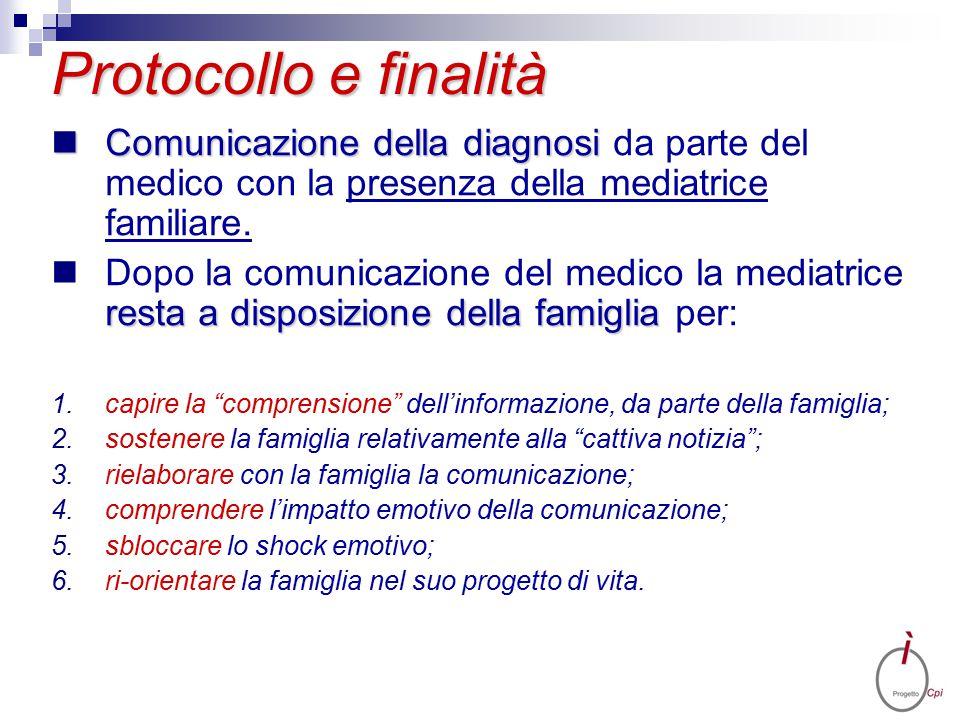 Protocollo e finalità Comunicazione della diagnosi Comunicazione della diagnosi da parte del medico con la presenza della mediatrice familiare. resta