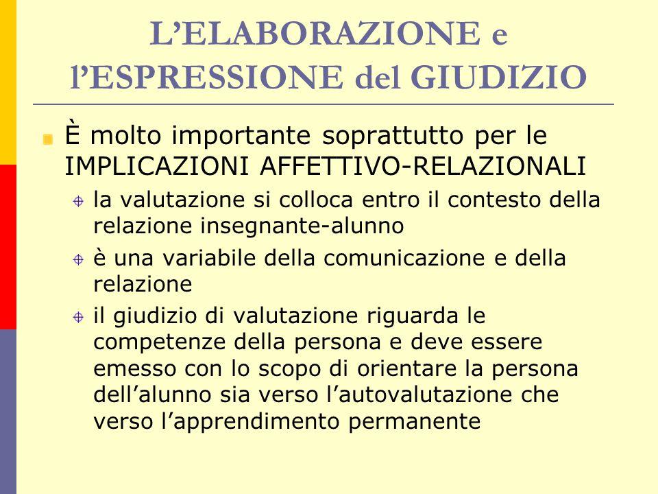 L'ELABORAZIONE e l'ESPRESSIONE del GIUDIZIO È molto importante soprattutto per le IMPLICAZIONI AFFETTIVO-RELAZIONALI la valutazione si colloca entro i