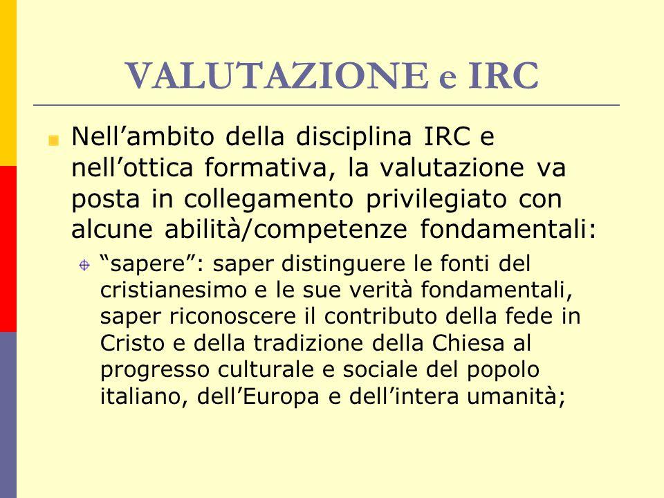 VALUTAZIONE e IRC Nell'ambito della disciplina IRC e nell'ottica formativa, la valutazione va posta in collegamento privilegiato con alcune abilità/co