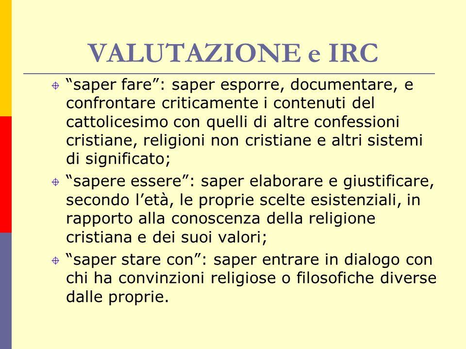 """VALUTAZIONE e IRC """"saper fare"""": saper esporre, documentare, e confrontare criticamente i contenuti del cattolicesimo con quelli di altre confessioni c"""